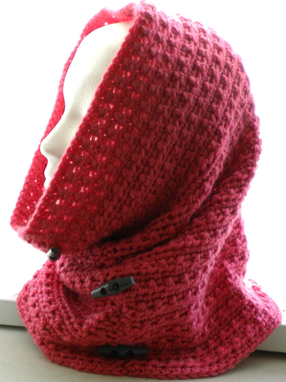 Crochet COWL /HOOD PATTERN with Decorative Buttons