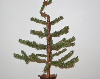 Primitive Faux Feather Tree in Primitive Snowman Bucket (Triple Twig Tree with Rusty Stars)