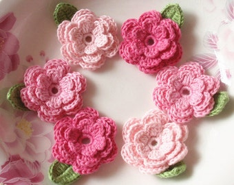 6 Crochet Flowers With Leaves In Lt pink, Pink, Bubblegum Pink  Pink YH-014-08