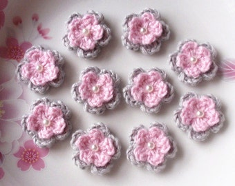 10 Crochet Flowers With Pearl In Lt Pink, Gray  YH-105-02
