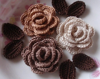 3 Crochet  Roses With Leaves YH - 065-12