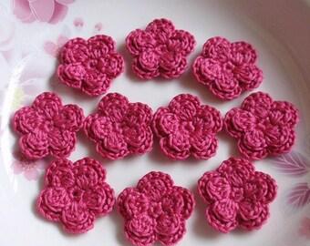 10 Crochet Flowers In Azalea  YH-161-02