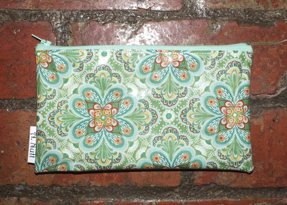 Long Purse. Pencil Case. Make-up Bag.-  Blue/Green Kaleidoscope print