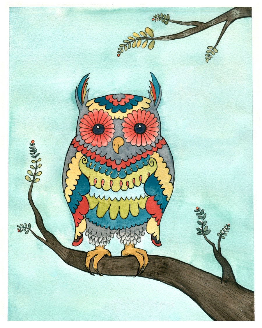 owl art print bright owl giclee print watercolor