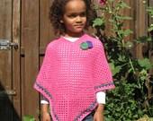 Bright pink crochet girl's poncho / Roze gehaakte meisjes poncho