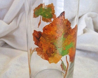 Fall Leaves Vase - Painted textured leaves on glass vase for autumn thanksgiving decor