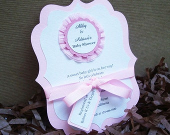 Handmade Pink & White Rosette Invitation for Baby Girl Shower