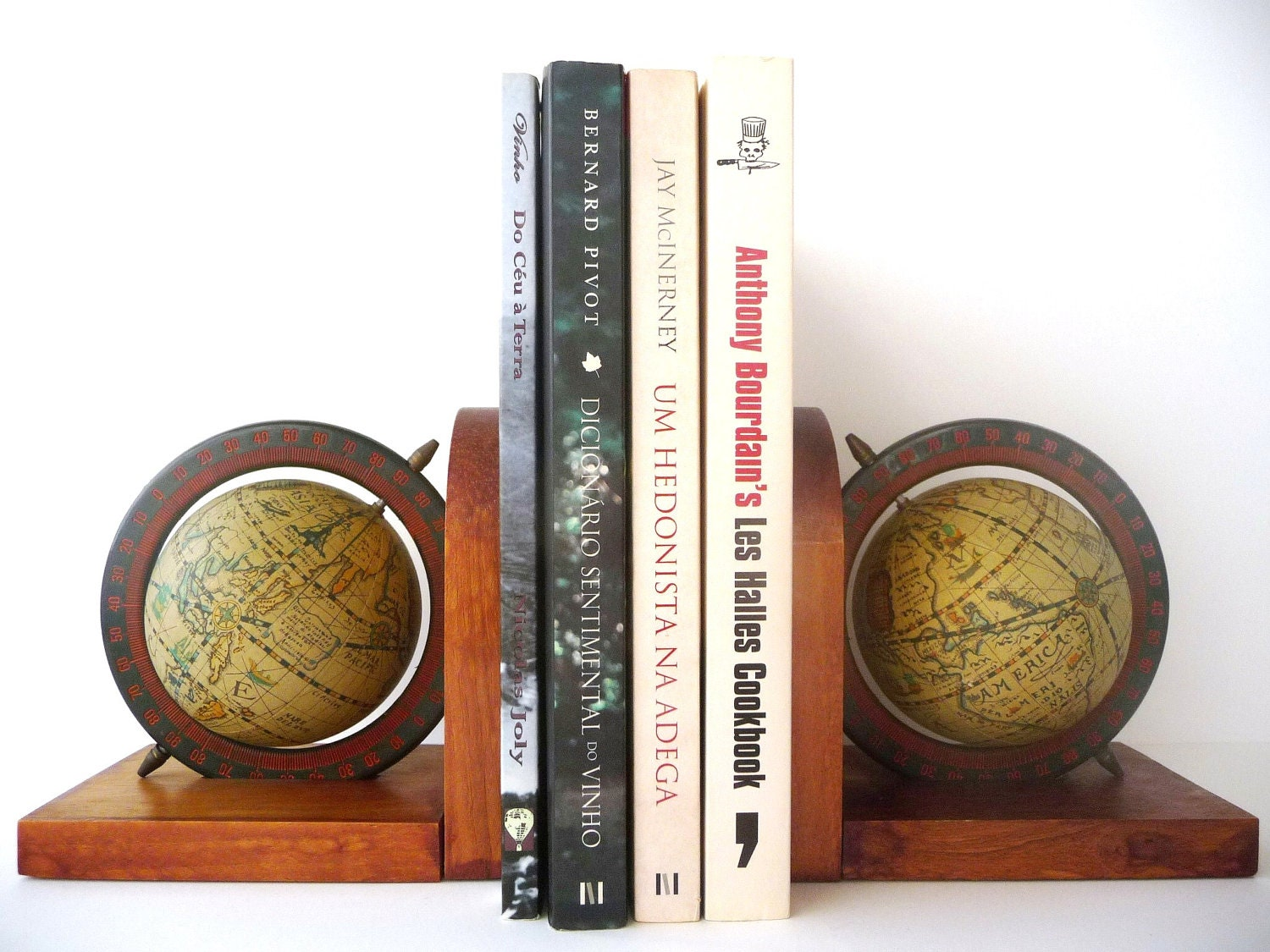 Vintage Set Of Ancient World Globe Bookends Wood Globe