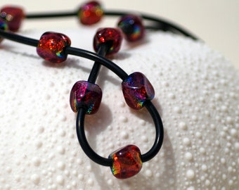 Dichroic Glass Bead Necklace - Ruby Red Rhomboid on Black