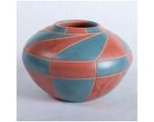 Decorative Ceramic Vase, Art Pottery, Turquoise and Earth Tone Geometric Vessel