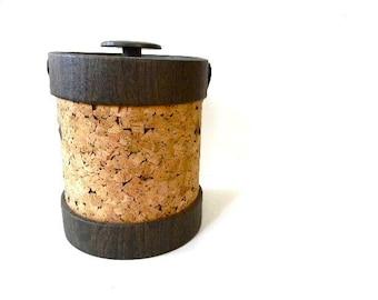 mid century modern cork ice bucket