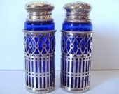 Moroccan style Paul Revere Silverplate Blue Glass Salt n' Pepper Shakers