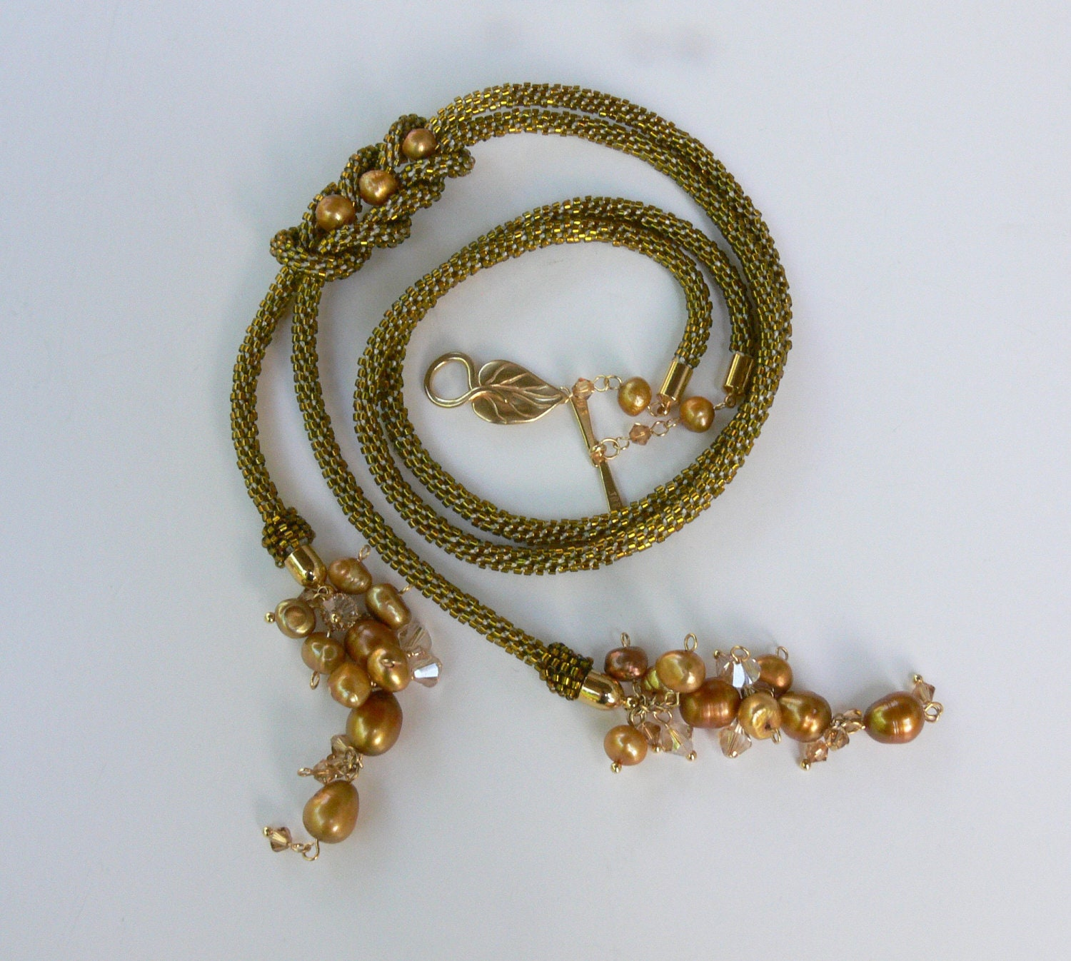 Necklace Beads: Beaded Gold Kumihimo Necklace Seed Beads Jewelry Handmade