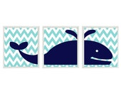 Whale Chevron Wall Art Print  - Navy Blue Aqua White Nautical Beach - Nursery Children Room Bathroom Home Decor