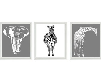 Safari Nursery Wall Art Prints  - Black White Gray Decor Silhouette Giraffe Elephant Zebra - Children Room Home Decor