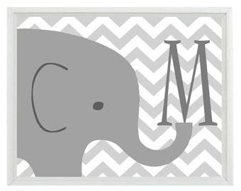 Elephant Nursery Wall Art Print - Initial Letter Chevron Gray Decor - Children Room Kid Baby  - Wall Art Home Decor  Print