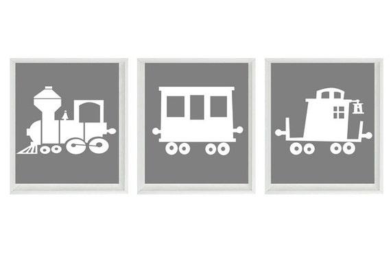 Train Art Print - Boy Nursery - Gray White Decor - Choo Choo Railroad Wall Art Home Decor