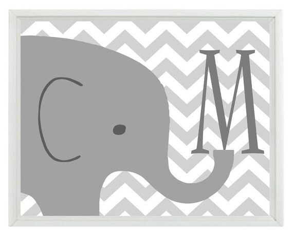 Elephant Nursery Wall Art Print Initial Letter Chevron Gray