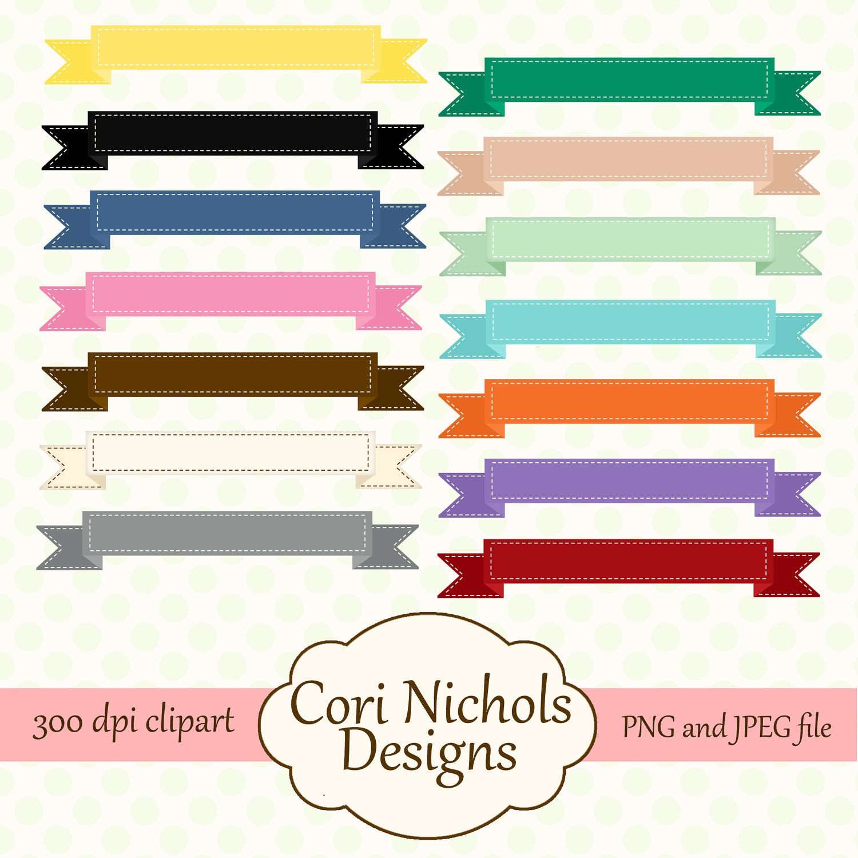 Banner Ribbon Clipart Digital Graphic Illustration Set JPEG &