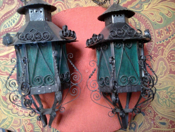 Mexican - Set of Two Hanging Iron Lights - Filigree Scroll - Turquoise Shades