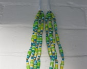 Tropical Macaw Striped Paper Bead Ribbon Necklace (Yellow, Light Green, Dark Green, Turquoise, & White)