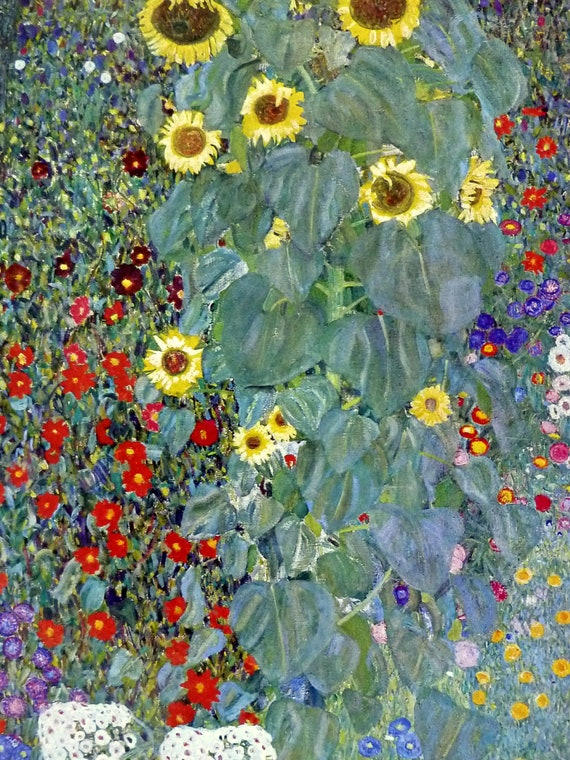 Gustav Klimt Garden With Sunflowers Garden Ftempo