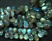 7 Inches, Super Finest Blue Flash Labradorite  Smooth Pear Shape Briolettes Size 10-13mm aprx