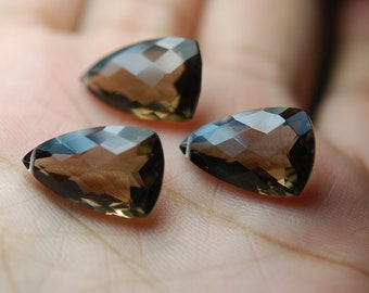 AAA Quality, 20mm Long  Smoky  Quartz Faceted ELONGATED Trillion Shape Briolettes Matched Pair