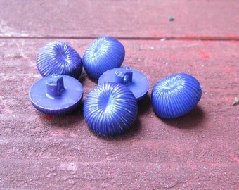 Set of 6 Blue Plastic Vintage Buttons