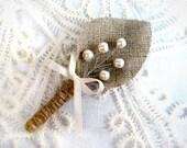 Set of 2-Ivory  sprig pearl burlap Boutonnier