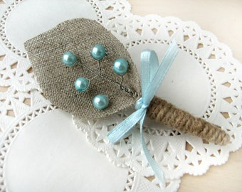 Burlap Groom's Boutonniere for Wedding Rustic Bout with Tiffany pearls