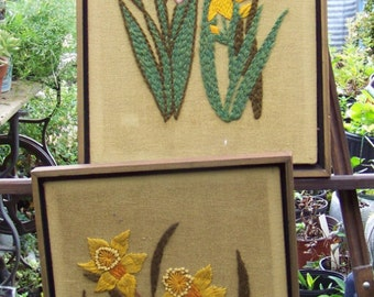 Two Large Mid Century Embroidered Wall Panels / Wall Art