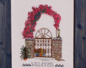 "Cross Stitch Instant Download Pattern ""Island Gateways 2"" Counted Embroidery Chart. X Stitch. Floral Arbor, Iron Gate Design. Welcome."