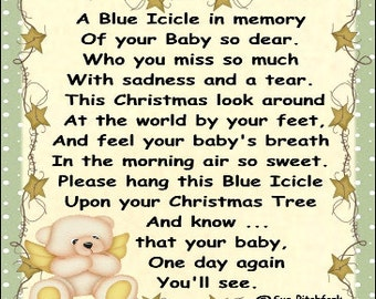 In Loving Memory of Baby Blue Icicle Ornament