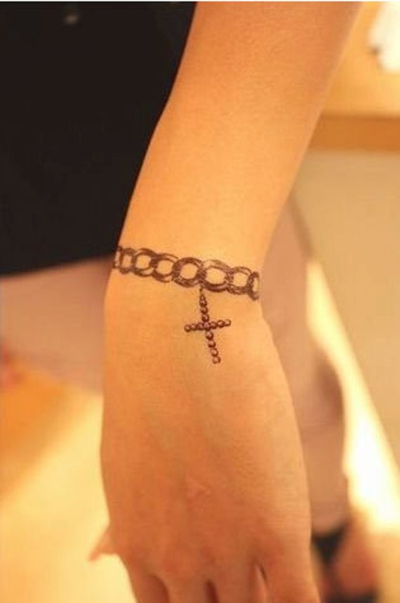 Items Similar To Ribbon Chain And Crosses Temporary Tattoo