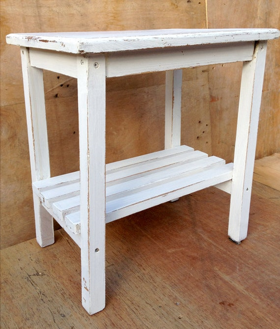 Upcycled Rustic White Small Table Side Table Or Bedside Table