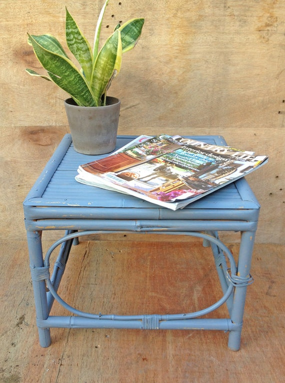 Upcycled Bamboo Side Table Or Bedside Table