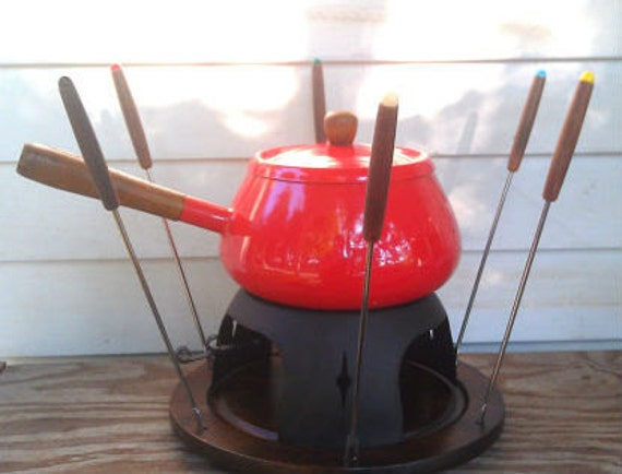 Vintage -Retro Red- Fondue Set  Complete with 6 Stainless Forks