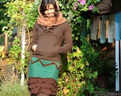 Bohemian green lively skirt, Gypsy sexy brown fall skirt, winter sweater skirt