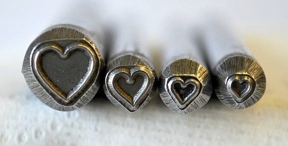 Heart Design Metal Stamp Combination Set Four Different Sizes of the Heart Stamp SG-375-49C-25M-1NJ-14