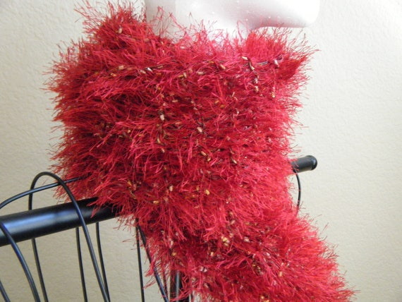 Fuzzy, knit, red eyelash fashion scarf for teens and women.