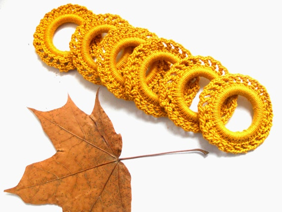 Set of 6 handcrocheted vintage napkin rings in mustard yellow Vintage table decor Swedish vintage