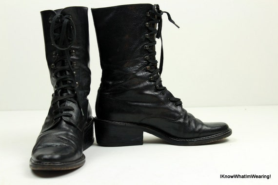 VIntage Lace Up Black Leather Womens Boots Made in Italy 39.5