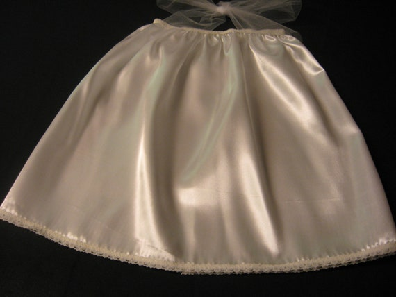 Satin tutu dress liner / half slip in white, ivory, black or pink to keep the little one from being itchy with tulle.