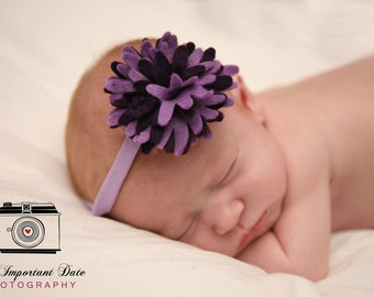 Felt Flower Baby Headband.Purple Baby Headband.Purple Newborn Headbands.Felt Baby Headbands.Purple Infant Headband.Photo Prop felt Headband