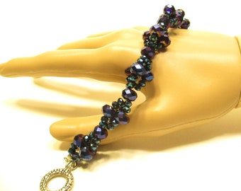 Crystal bracelet blue teal small crystals with medium blue purple crystals with toggle clasp