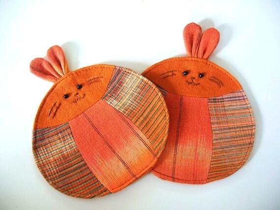 Handmade Rabbit Coaster, Fabric Coaster (Set of 2), Orange Coaster, Bunny Coaster, Orange Rabbit, Orange Bunny