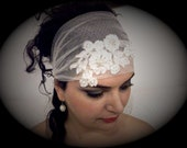 Crystal Headband Veil Head Wrap Art Deco Vintage Inspired Tulle Veil Great Gatsby Wedding Veil 1920's Style //free shipping
