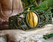 Tigers Eye Gemstone Big Bracelet / Cuff - Hand Made No-Metal Hypoallergenic soft and pliable Organic waxed Moss Green Hemp Cord