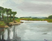 "RESERVED FOR BRACINE- Original Plein Air Oil Painting Landscape:  ""Marsh of Watch Rock, Old Lyme"" - August 2012"